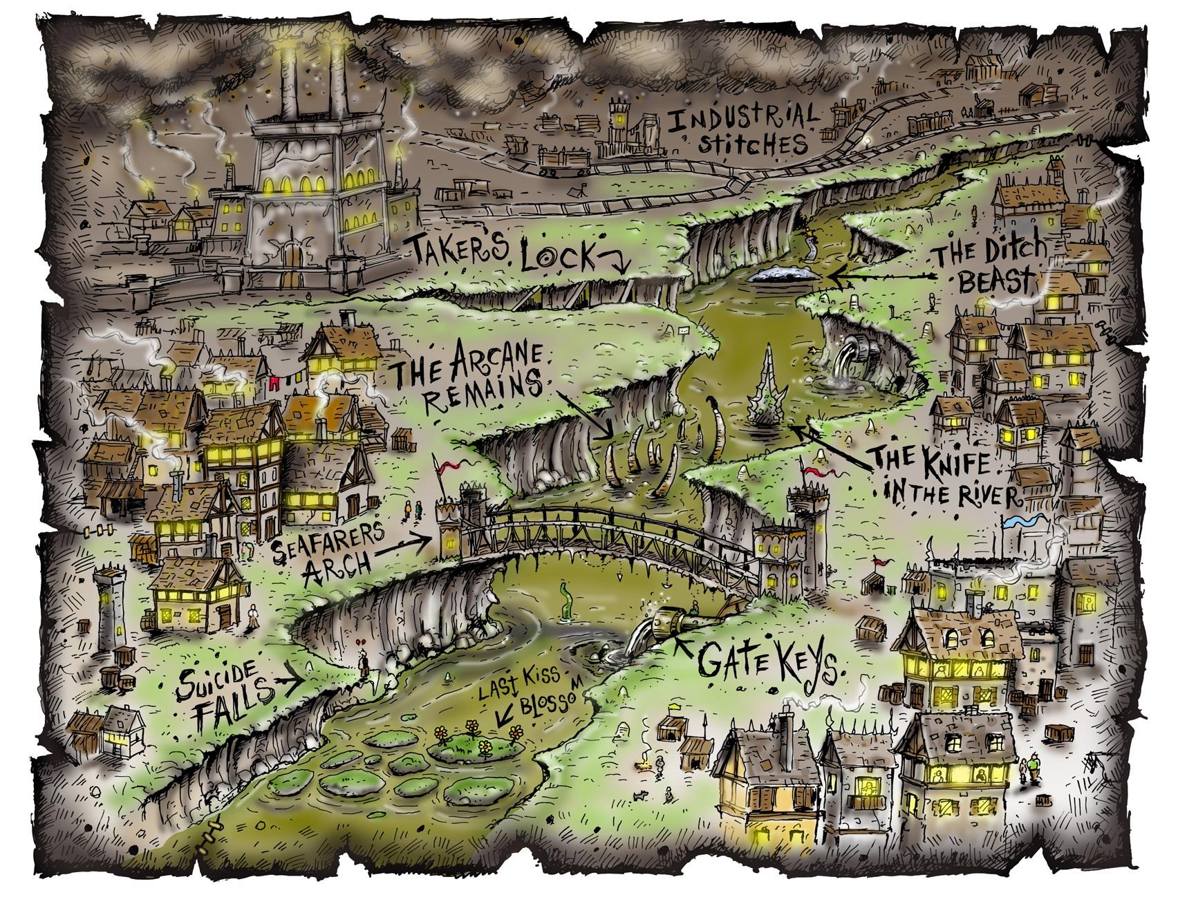 ditch area sigil hive Una mappa schematica della zona del Canalone, vicino la Fonderia e il Tempio Infranto Polyhedron Magazine (?) © Wizards of the Coast & Hasbro
