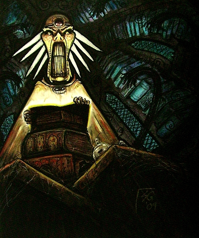 """steelgrave """"Amongst the Stacks"""", Factol Skall in una delle sue biblioteche nel Piano Negativo - by steelgrave (Shaun) steelgrave.deviantart.com (2009) © dell'autore tutti i diritti riservati"""