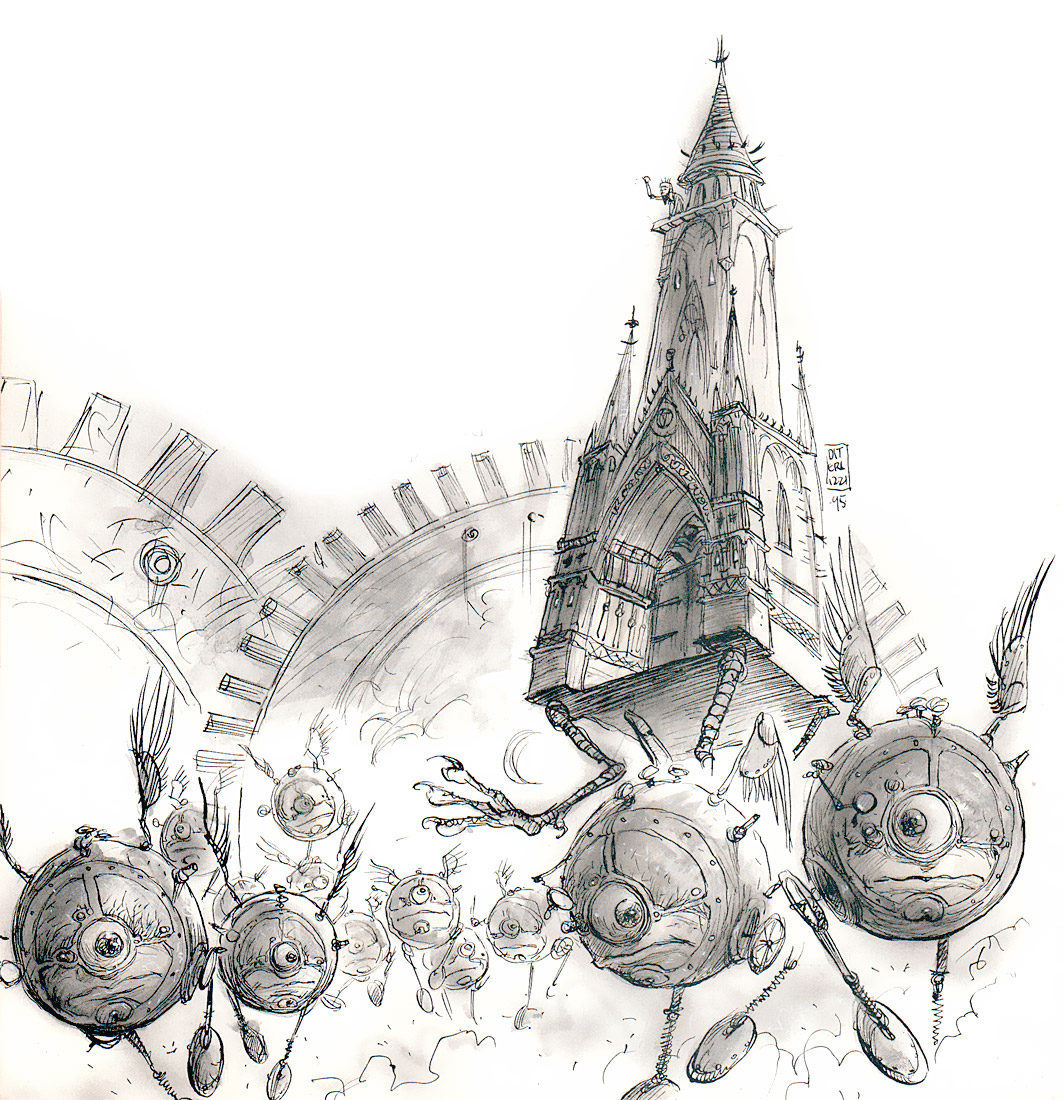 modron march moving castle outlands La Processione Modron e un castello errante delle Terre Esterne - by Tony Diterlizzi TSR - A Player's Primer to the Outlands (1995) © Wizards of the Coast & Hasbro