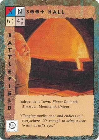 "outlands dwarven mountain ""Soot Hall"", i Salon Fuligginosi della Montagna dei Nani - by Dana Knutson TSR - ""Blood Wars"" card game Base Pack (1995) © Wizards of the Coast & Hasbro"