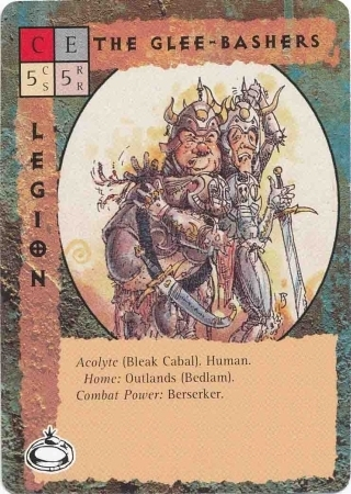 "bleak cabal ""The Glee Bashers"", il duo degli //Allegri Spaccaossa//, membri della Trista Cabala a Bedlam nelle Terre Esterne - by Paul Jaquays TSR - ""Blood Wars"" card game Pack 2, Factols & Factions (1995) © Wizards of the Coast & Hasbro"