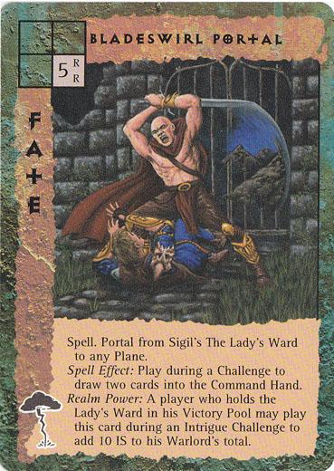 """sigil """"Bladeswirl Portal"""", portale nel quartiere della Signora, si apre con un colpo si spada - by Peter Venters TSR - """"Blood Wars"""" card game Pack 2, Factols & Factions (1995) © Wizards of the Coast & Hasbro"""