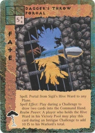 "sigil ""Dagger's Throw Portal"", nell'alveare, funziona lanciandogli attraverso un pugnale - by Peter Venters TSR - ""Blood Wars"" card game Pack 2, Factols & Factions (1995) © Wizards of the Coast & Hasbro"
