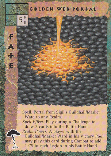 "sigil ""Golden Web Portal"", nel quartiere del mercato, occorre oro fuso... - by Peter Venters TSR - ""Blood Wars"" card game Pack 2, Factols & Factions (1995) © Wizards of the Coast & Hasbro"
