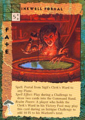 "sigil ""Inkwell Portal"", nell'amministrativo, un po' di inchiostro nel giusto calderone... - by Peter Venters TSR - ""Blood Wars"" card game Pack 2, Factols & Factions (1995) © Wizards of the Coast & Hasbro"