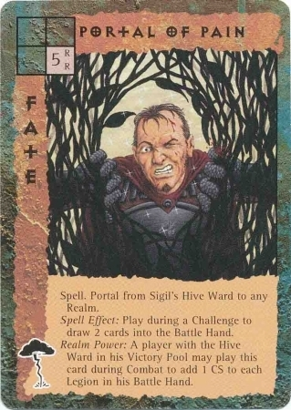 "sigil ""Portal of Pain"", nell'alveare, si apre ferendosi con la rasorvite - by Peter Venters TSR - ""Blood Wars"" card game Pack 2, Factols & Factions (1995) © Wizards of the Coast & Hasbro"