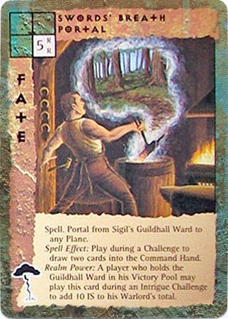 """sigil """"Sword's Breath Portal"""", nel quartiere delle gilde, la forgiatura di uno stocco lo può aprire - by Peter Venters TSR - """"Blood Wars"""" card game Pack 2, Factols & Factions (1995) © Wizards of the Coast & Hasbro"""