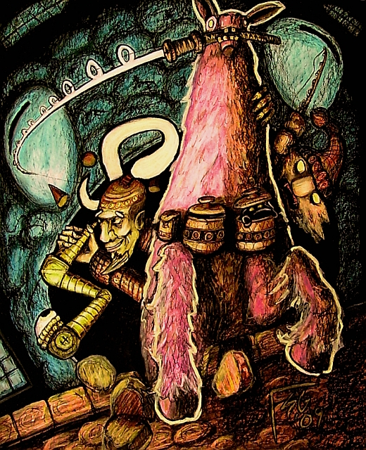 """steelgrave xaositect """"Ooze Portal Fishing"""": Factol Karan e Omott il linqua a pesca di mephit della melma a cavallo di un lama rosa - by steelgrave (Shaun) steelgrave.deviantart.com (2013) © dell'autore tutti i diritti riservati"""