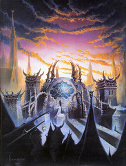 the mortuary from distance sigil Il Mortuario dei Cinerei - by Ned Dameron TSR - The Eternal Boundary (1994) © Wizards of the Coast & Hasbro