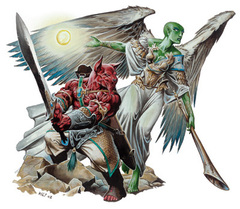 {$tags} Un arconte Lanterna, un arconte Segugio e un arconte Tromba - by Wayne Reynolds D&D 3.5 edition Monster Manual I (2003) © Wizards of the Coast & Hasbro