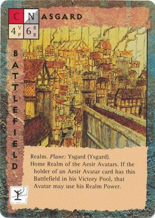 "ysgard ""Asgard"" - by Rob Lazzaretti TSR - ""Blood Wars"" card game Base Pack (1995) © Wizards of the Coast & Hasbro"