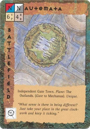 "outlands terre esterne ""Automata"" - by Dana Knutson TSR - ""Blood Wars"" card game Base Pack (1995) © Wizards of the Coast & Hasbro"