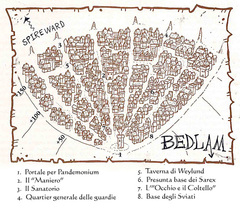 bedlam map Mappa della città di Baraonda TSR - A Player's Primer to the Outlands (1995) © Wizards of the Coast & Hasbro