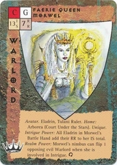 "court under the stars ""Faerie Queen Morwel"", la regina degli eladrin - by Rob Lazzaretti TSR - ""Blood Wars"" card game Base Pack (1995) © Wizards of the Coast & Hasbro"