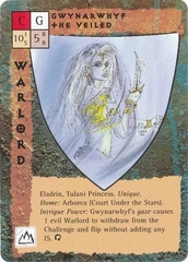 "court under the stars ""Gwynarwhyf the Veiled"", la principessa tulani - by Rob Lazzaretti TSR - ""Blood Wars"" card game Base Pack (1995) © Wizards of the Coast & Hasbro"