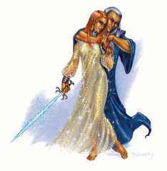 court of stars La Regina Morwel e il consorte Faerinaal - by Ron Spencer Libro delle Imprese Eroiche (2003) © Wizards of the Coast, 25 Edition & Hasbro