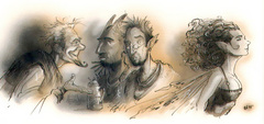 {$tags} Un eladrin coure attira l'attenzione - by Tony Diterlizzi TSR Planescape Planes of Conflict, Liber Benevolentiae (1995-11) © Wizards of the Coast & Hasbro