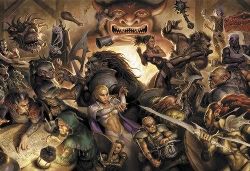 tiefling beholder mind flayer bugbear orc goblin kobold githyanki hobgoblin red dragon vampire drow elf gnome dwarf D&D Manifesto - risse a non finire! - by Todd Lockwood Dragon Magazine #321 (2004-07) © Wizards of the Coast & Hasbro