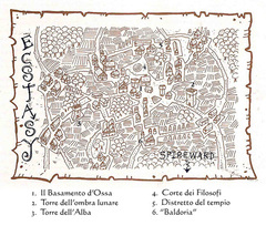 map gate-town Mappa della città di Ecstasy - by Rob Lazzaretti TSR - A Player's Primer to the Outlands (1995) © Wizards of the Coast & Hasbro