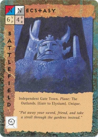 "outlands gate-town ""Ecstasy"" - by Dana Knutson TSR - ""Blood Wars"" card game Base Pack (1995) © Wizards of the Coast & Hasbro"