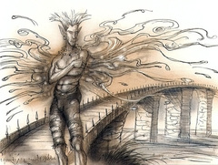 bridge on amoria Un ponte sull'Oceanus in Amoria, guardato da un Asura - by Tony Diterlizzi TSR - Planes of Conflict, Liber Benevolentiae (1995-11) © Wizards of the Coast & Hasbro
