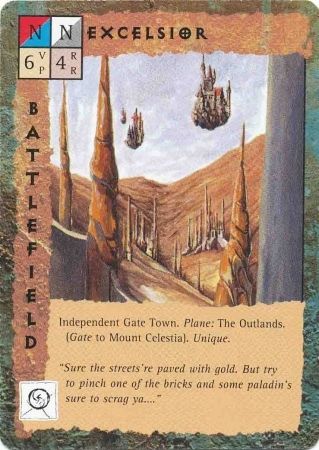 "outlands gate-town ""Excelsior"" - by Dana Knutson TSR - ""Blood Wars"" card game Base Pack (1995) © Wizards of the Coast & Hasbro"