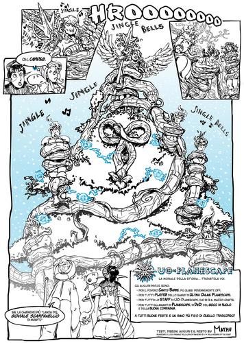 """fumetto planescape dungeons dragons comic serelupe karbe outlands christmas auguri """"Canto di Natale"""", la breve avventura di Canto Barre - pag.2 - by MathuJoke www.planescape.it (2013-12) © dell'autore e Ultima Online Planescape Shard"""