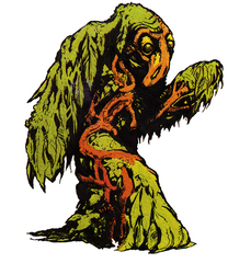 "Shambling Mound Cumulo Strisciante Il ""Trifido Dinoccolato"", illustrazione sul retro della confezione - by Steve Bissette AD&D Official Adventure Figures Toy Line (1984) © TSR, LJN e Wizards of The Coast"