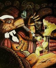 """steelgrave arcanaloth """"A'kin and the Mycanoid Merchant"""", l'amichevole immondo in affari - by steelgrave (Shaun) steelgrave.deviantart.com (2009) © dell'autore tutti i diritti riservati"""