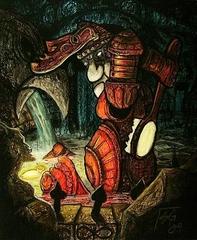 """steelgrave """"Autochon Bellringer bathing in a Temple of the Abyss fountain"""", uno dei corrieri più noti/suonati di Sigil - by steelgrave (Shaun) steelgrave.deviantart.com (2009) © dell'autore tutti i diritti riservati"""