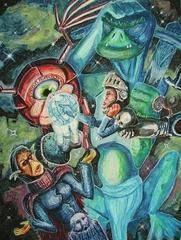 """steelgrave """"Navigating the Astral"""" barzelletta: ci sono una githyanki, un monodrone, una tiefling e un lucertoloide che... - by steelgrave (Shaun) steelgrave.deviantart.com (2007) © dell'autore tutti i diritti riservati"""