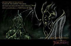 Planescape Torment Concept - Fall-From-Grace, tavola promo a colori by Chris Avellone (1999)