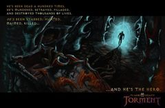 Planescape Torment Concept - Nameless One, tavola promo a colori by Chris Avellone (1999)