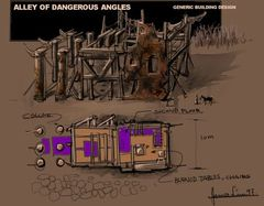 Planescape Torment Concept - Alley of Dangerous Angles buildings by James Lim (1999)