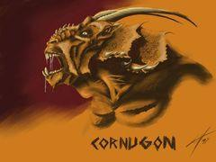 Planescape Torment Concept - Cornugon, particolare, tavola a colori by Chris Avellone (1999)