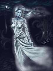 Planescape Torment Concept - Deionarra ghost, tavola a colori by Chris Avellone (1999)