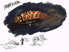 Planescape Torment Concept - Larval Worm, tavola a color e schizzii by Chris Avellone (1999)