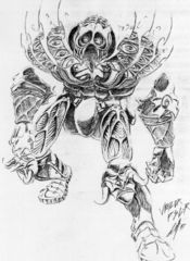 Planescape Torment Sketch - Vhalior schizzo preparatorio by Chris Avellone (1999)
