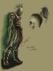 Planescape Torment Concept - Zombie male, tavola a colori by Chris Avellone (1999)