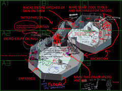 Planescape Torment building map - Step 1, modello 3d base e appunti -Fell's Tattoo Parlor- (1999)