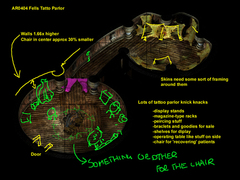 Planescape Torment building map - Step 2, primo rendering e aggiustamennti -Fell's Tattoo Parlor- (1999)