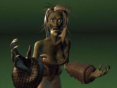 Dak'kon, combattimento Planescape Torment rendering preparatorio - Ghoul Female (1999)