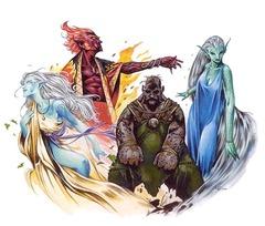 water genasi, earth genasi, air genasi, fire genasi Genasi dei quattro elementi - by Wayne Reynolds Monsters of Faerûn (2001) © Wizards of the Coast & Hasbro
