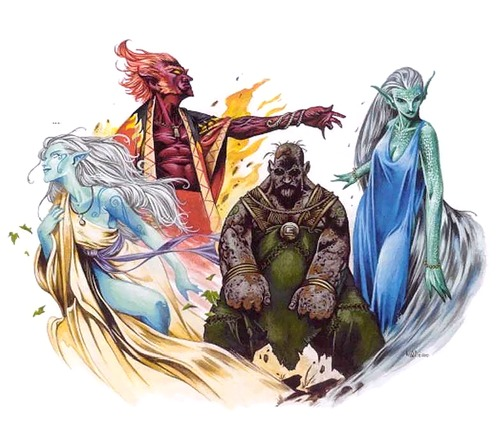 water genasi, earth genasi, air genasi, fire genasi Genasi dei quattro elementi - by Wayne Reynolds Monsters of Faerûn (2001) © Wizards of the Coast & Hasbro