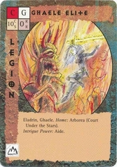 "eladrin ""Ghaele Elite"", un ghaele contro un balor - by Rob Lazzaretti TSR - ""Blood Wars"" card game Pack 1, Rebels & Reinforcements (1995) © Wizards of the Coast & Hasbro"