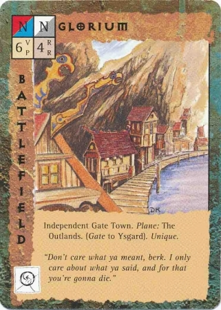 """outlands gate-town """"Glorium"""" - by Dana Knutson TSR - """"Blood Wars"""" card game Base Pack (1995) © Wizards of the Coast & Hasbro"""