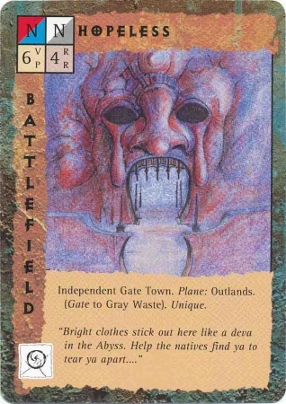 "outlands gate-town disperazione ""Hopeless"" - by Dana Knutson TSR - ""Blood Wars"" card game Escalation Pack 2, Factols & Factions (1995) © Wizards of the Coast & Hasbro"