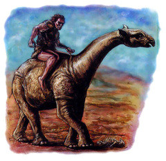 {$tags} Indricothere cavalcato da Gigante delle Colline - by Kevin McKann Fiend Folio (2003) © Wizards of the Coast & Hasbro
