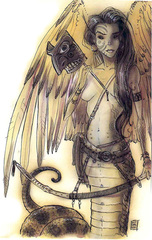 {$tags} Lillend - by Tony Diterlizzi TSR - Planescape, Planes of Chaos (1994-07) © Wizards of the Coast & Hasbro