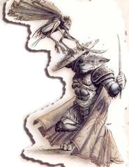 {$tags} Un lupinal in battaglia - by Tony Diterlizzi TSR Planescape Planes of Conflict, Liber Benevolentiae © Wizards of the Coast & Hasbro